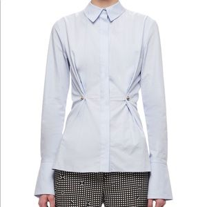 CARVEN Blue Studded Peplum Shirt 001 Blanc Optique
